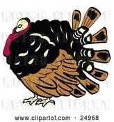 Vector Clip Art of Retro Chubby Brown, Black and Red Turkey Bird with His Head Tucked in His Neck by Andy Nortnik