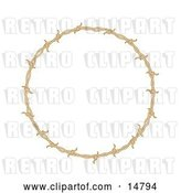 Vector Clip Art of Retro Circular Border Frame of Barbed Wire over a White Background by Andy Nortnik