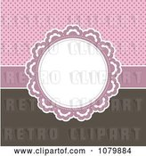 Vector Clip Art of Retro Circular Frame over a Pink Polka Dot and Brown Background by KJ Pargeter