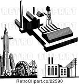 Vector Clip Art of Retro City and Factories by BestVector