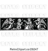 Vector Clip Art of Retro Clipart of a | Border of a Saint Receiving a Crown| Royalty Free Vector Illustration by Prawny Vintage