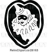 Vector Clip Art of Retro Clown Lady in a Heart by Prawny Vintage