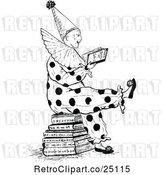 Vector Clip Art of Retro Clown Reading Joke Books by Prawny Vintage