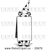 Vector Clip Art of Retro Clown Wearing a Sign by Prawny Vintage