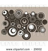 Vector Clip Art of Retro Cluster of Brown and White Swirls and Circles on a Beige Background by KJ Pargeter