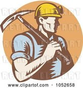 Vector Clip Art of Retro Coal Miner Carrying a Pickaxe over a Brown Circle by Patrimonio