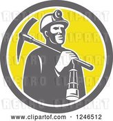 Vector Clip Art of Retro Coal Miner with a Lantern and Pickaxe in a Circle by Patrimonio