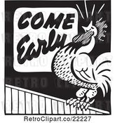 Vector Clip Art of Retro Come Early Rooster Advertisement by BestVector