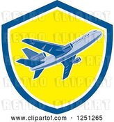 Vector Clip Art of Retro Commercial Airliner in a Blue and Yellow Shield by Patrimonio