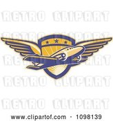 Vector Clip Art of Retro Commercial Airliner Plane over a Winged Pilot Shield by Patrimonio