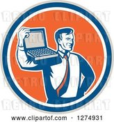 Vector Clip Art of Retro Computer Repair or Businessman with a Laptop on His Shoulder in a Taupe Blue White and Orange Circle by Patrimonio