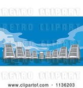 Vector Clip Art of Retro Computer Server Skyscrapers over Blue by Patrimonio