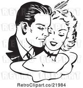 Vector Clip Art of Retro Couple Cuddling by BestVector