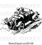 Vector Clip Art of Retro Couple Driving a Convertible Car by Prawny Vintage