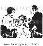 Vector Clip Art of Retro Couple Eating a Meal by Picsburg
