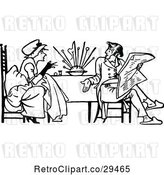 Vector Clip Art of Retro Couple Having a Discussion at a Table by Prawny Vintage