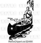 Vector Clip Art of Retro Couple in a Boat by BestVector