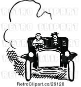 Vector Clip Art of Retro Couple in a Car by Prawny Vintage