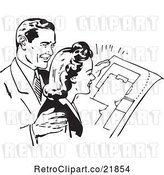 Vector Clip Art of Retro Couple Reviewing Blue Prints by BestVector
