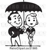 Vector Clip Art of Retro Couple Under an Umbrella by BestVector