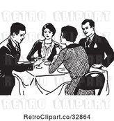 Vector Clip Art of Retro Couples Talking at a Dinner Table by Picsburg
