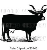 Vector Clip Art of Retro Cow 3 by Prawny Vintage