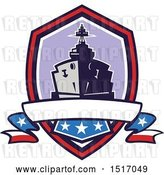 Vector Clip Art of Retro Crest with a Battleship with Stars and Stripes Flags by Patrimonio