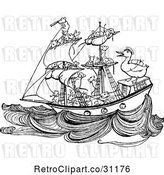 Vector Clip Art of Retro Crew of Mice Sailing a Ship with a Duck by Prawny Vintage