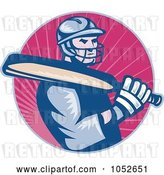 Vector Clip Art of Retro Cricket Batsman Logo - 1 by Patrimonio