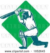 Vector Clip Art of Retro Cricket Batsman Logo - 10 by Patrimonio