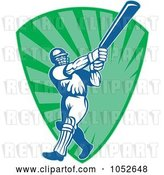 Vector Clip Art of Retro Cricket Batsman Logo - 12 by Patrimonio
