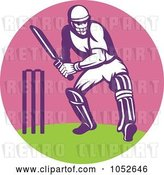 Vector Clip Art of Retro Cricket Batsman Logo - 2 by Patrimonio