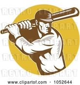 Vector Clip Art of Retro Cricket Batsman Logo - 3 by Patrimonio