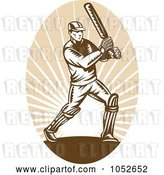 Vector Clip Art of Retro Cricket Batsman Logo - 4 by Patrimonio