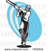 Vector Clip Art of Retro Cricket Batsman Logo - 6 by Patrimonio