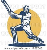 Vector Clip Art of Retro Cricket Batsman Logo - 7 by Patrimonio