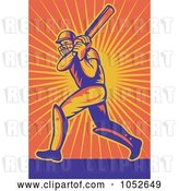 Vector Clip Art of Retro Cricket Batsman over Orange Rays by Patrimonio