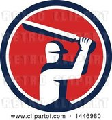 Vector Clip Art of Retro Cricket Player Batsman in a Blue White and Red Circle by Patrimonio