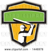 Vector Clip Art of Retro Cricket Player Batsman in a Green, White, Black Gray and Yellow Crest by Patrimonio