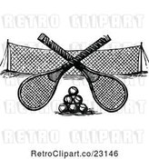 Vector Clip Art of Retro Crossed Tennis Rackets over Balls and a Net by Prawny Vintage