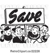 Vector Clip Art of Retro Crowd with a Save Sign by BestVector