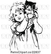 Vector Clip Art of Retro Cute Girl Holding up a Kitten by Prawny Vintage
