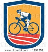 Vector Clip Art of Retro Cyclist Guy in a Blue White Orange and Red Shield by Patrimonio