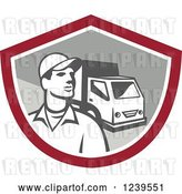 Vector Clip Art of Retro Delivery Guy and Truck in a Shield by Patrimonio