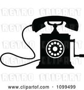 Vector Clip Art of Retro Desk Crank Telephone by Vector Tradition SM