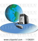 Vector Clip Art of Retro Desktop Computer Server Tower Connected a Globe by Patrimonio