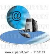 Vector Clip Art of Retro Desktop Computer Server Tower Connected an Email Globe by Patrimonio