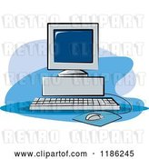 Vector Clip Art of Retro Desktop Computer Set up by Lal Perera