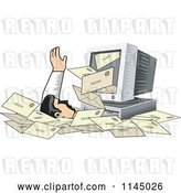 Vector Clip Art of Retro Desktop Computer Spewing out Email and Burying a Guy in Spam by Patrimonio
