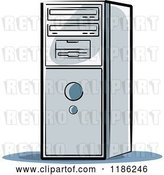 Vector Clip Art of Retro Desktop Computer Tower by Lal Perera